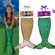 Kids Baby Girls Mermaid Tail Bikini Set Swimsuit Swimwear Bathing Suit Costume