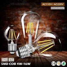 E27 E14 4/8/12/16W Rétro Edison Lampe Filament LED Ampoule Bougie/Flamme Lumière