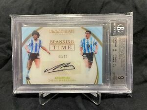 2018-19 Immaculate Soccer DIEGO MARADONA   Spanning Time #4/10 Auto BGS 9/10