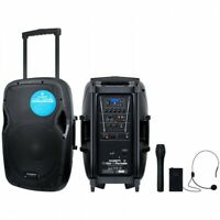 Kam 800w Bluetooth Portable PA Active Speaker System 2 Wireless Mic USB
