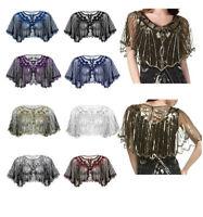 Womens Shiny Bridal Shawl Bolero Shrug Cropped Cardigan Short Coat Tops Cover Up