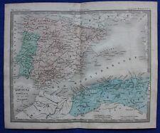Original antique map SPAIN, PORTUGAL and ALGERIA, Felix Ansart, c.1855