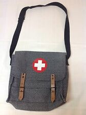 Red Cross Gray Crossbody Military Unisex Book Tote Bag  Satchel Leather Closure