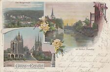 Gruss aus Erfurt  AK 1899 Mehrbild Litho Steigerwald Kirchen Thüringen 1702294