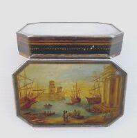 Tabatière en argent laqué, miniature Scène de Port, vers 1820