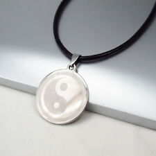 SILVER Tai chi Yin Yang Simbolo in Acciaio Inox Ciondolo Collana in pelle nera