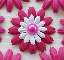 "100! Mulberry Paper Flower Petal Blossom - Large Fuchsia Pink Daisy - 4cm/1.5"""