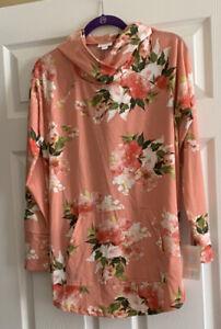 NWT Lularoe Amber Hoodie - Size Large - Peach Coral Floral Print - Very HTF!!!