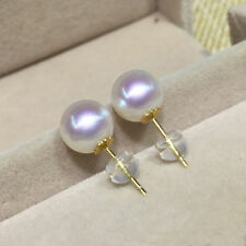 AAA++ 8.5-9mm real natural Japanese Akoya white round pearl earrings 18k Gold