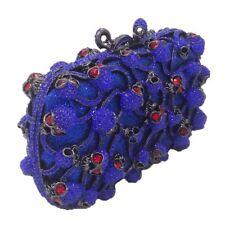 Royal Blue Skull Crystal Clutch Gothic Punk Purse Bag