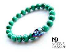 Men Genuine Malachite Skull Bracelet with Swarovski Crystal 7-8inch Elasticated