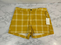 NWT A New Day Stretch Chino Shorts Womens 10 Yellow Plaid Flat Front V