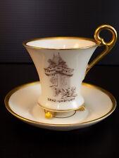 VIntage LINDNER KUEPS BAVARIA China TEA CUP & SAUCER Gold Rimmed Graz Uhrturm
