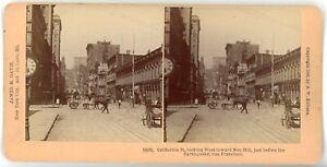 San Francisco CA Street Looking Toward Nob Hill: James Davis Stereoscope - 1906
