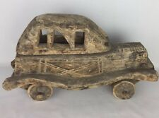 Circa antique wooden wood car hand carved hand built british?