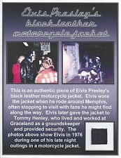 Elvis Presley Personal Owned Worn Black Leather Jacket Swatch - Tish Henley