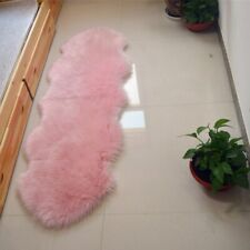 Pink Double 6'x2' Bedroom Faux Fur Carpet Imitated Sheepskin Rug Washable Mat