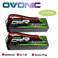 2X 50C 6200mAh 7.4V 2S Lipo Battery T Plug Hardcase For RC Car Truck Boat Buggy