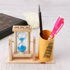 Timer Wood Pen Holder Office Desk Accessories with Hourglass Scrub Pencil Holder