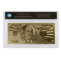100 Dollar 24k Gold Banknote Collectible 999.9 Gold Foil US Money with COA