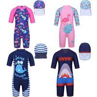 Kids Girls Boys Swimsuit Zipper Bathing Swimwear+Hat Rash Guard Surfing UPF 50+