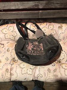 Juicy Couture Gray Velour Pink  Shoulder Bag Purse