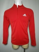 Adidas Medium M Red Clima Cool Reflective Men's 1/4 Zip Athletic Running / Golf