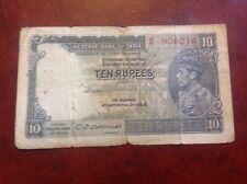 10 India Rupee banknote dated 1943 GeorgeV1 signature Deshmukh