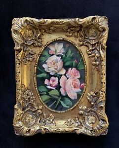 Original Miniature Oil Painting Antique Style Flowers With Gold Gilded Frame