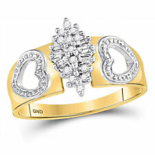 10kt Yellow Gold Womens Round Diamond Double Heart Cluster Ring 1/8 Cttw