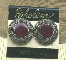 Copper Button Style Top Post Pierced Chelsea Earrings Enamel Purple & Dotted