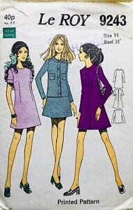 Vintage 60's FAB MINI COAT DRESS Sewing Pattern SIZE 14 (LR9243)