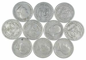 Lot of 10 El Salvador 1953 50 Centavos Silver Coin Lot Rare one Year Issue *444