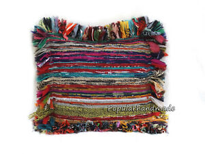 Cotton Chindi Pillow Cover Indian Handmade Multicolor Sofa Decor Cushion Covers