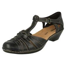 Ladies Clarks Wedge T-bar Closed Toe Sandal Shoes Wendy Alto Black Leather UK 6 D