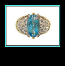 10K Solid Multi-Tone Gold London Blue Topaz & Diamond Ring