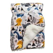 Dinosaur Pale Pink Mink Sherpa Fleece Baby Crib Pram Moses Blanket 75 x 100 cm