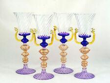 Venetian Murano Italian Art Glass Wine Glasses Amethyst Purple Gold Amber