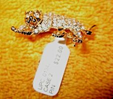 NWT Ladies' CHARTER CLUB Goldtone with Crystals Wildcat Pin,Macy's $22.00, Pin