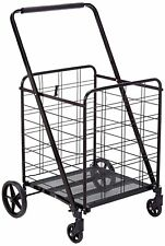 High Quality 360° Jumbo Folding Shopping Cart Grocery Utility,Sturdy-Black
