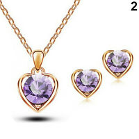 Women's Heart Crystal Pendant Necklace Ear Studs Earrings Hot Trendy Jewelry Set