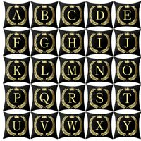 Pillow Cover Black and Gold Letter Print Pillowcase Sofa Cushion Cover Home Deco