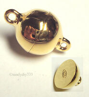 1x REAL 18K GOLD plated STERLING SILVER BALL MAGNETIC CLASP 10mm G055