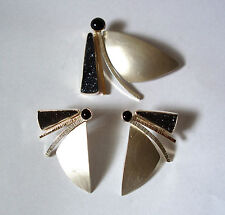 PIN AND EARRING SET, STERLING SILVER AND 14K GOLD WITH ONYX DRUSY