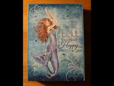 Mermaid Sign Nautical Beach Coastal Home Decor Wood Framed Beaded Canvas Happy