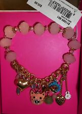 New Boxed Betsey Johnson Stretch Bracelet with Pig and Charms US Seller