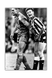 Black and White Vinnie Jones and Gazza Poster Prints Wall Art Football Pictures