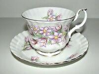 VTG Royal Albert Prairie Crocus Tea Cup Saucer Scallop Bone China Floral Footed