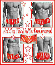 Men`s Red & White Star Boxer with Tie Laces Swimwear Very Sexy pos Gay Int ! HTF