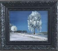 Original Ölgemälde Winter Weide Dänhardt Impressionismus Realismus Inkl. Rahmen
